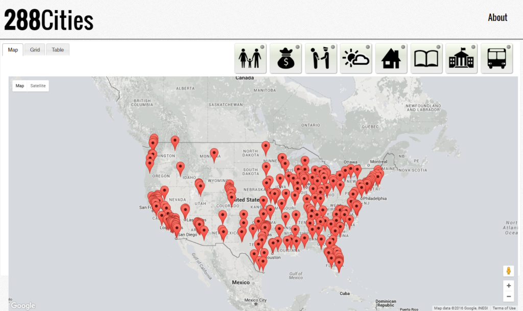 The default view maps all results across the country