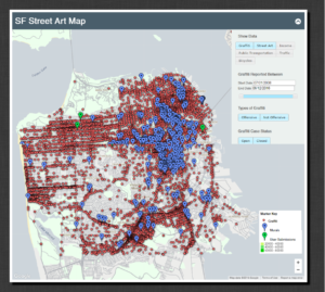 Street art map main page. Map viewers can toggle different layers and visualizations with the filters panel